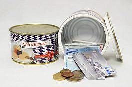 Dosensafe im Konserven Format – Modell Bratwurst